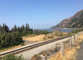 Train tracks at Turnagain Arm overlood
